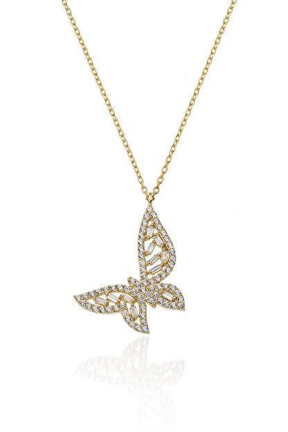 İNFİNİ TAKI Kadın Gold Baget Taşlı Kelebek Gümüş Kolye