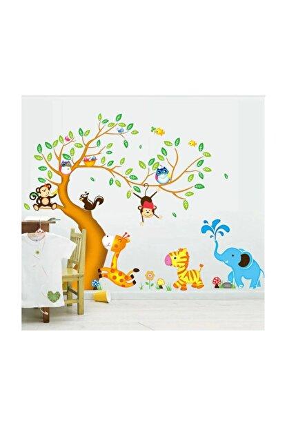 KT Decor Dev Boyutlu Çocuk Odası Dekorasyonu Ağaç Maymun Ve Hayvanlar Xl Duvar Sticker