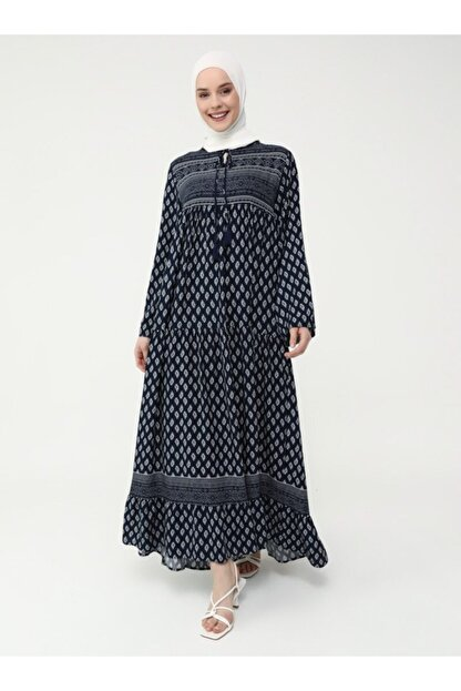 Refka Kadın Lacivert Doğal Kumaşlı Desenli Elbise