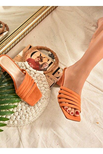 Fox Shoes Kadın Turuncu Süet Terlik K494566302