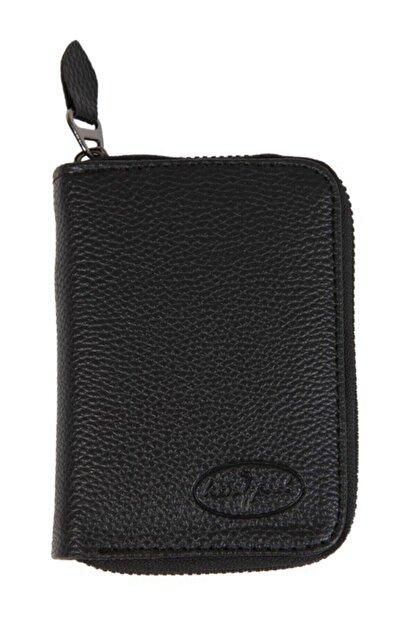Kenpool Unisex 7 Bölmeli Fermuarlı Siyah S.deri Kredi Kartlık Cüzdan Knp-10s