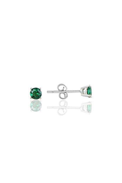 Söğütlü Silver Gümüş Rodyumlu 4 Mm Yeşil Tek Taş Küpe
