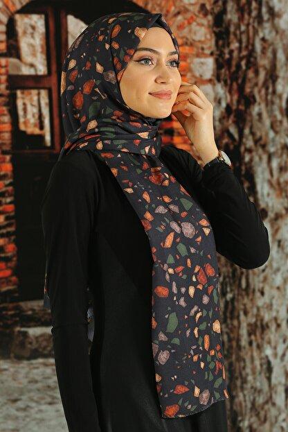 Moda Ebrar Kadın Lacivert Desenli Pamuk Şal
