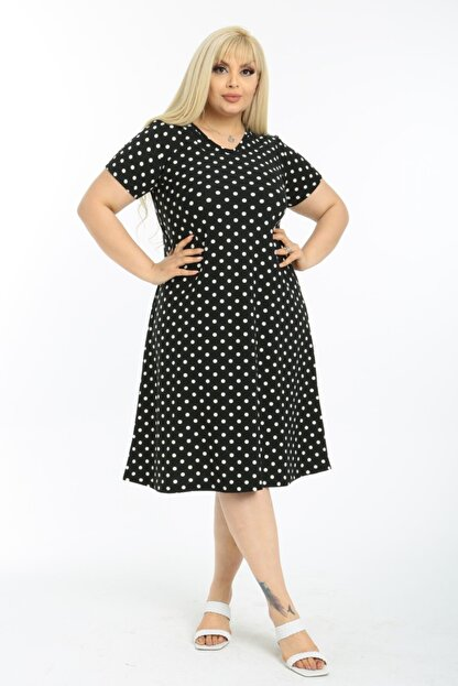 LİKRA Kadın Siyah Puantiye Desen Esnek Örme Krep Elbise