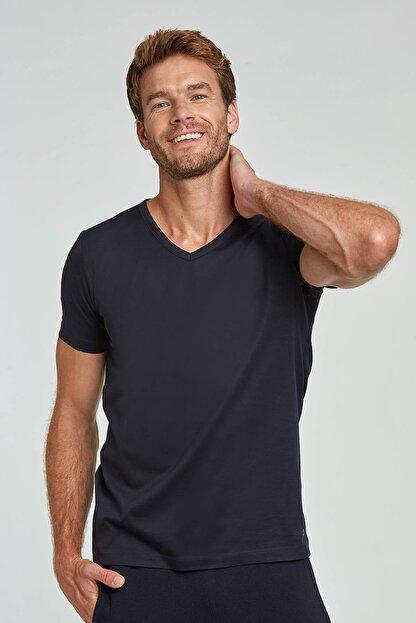 Hemington Erkek Lacivert V Yaka Basic T-shirt
