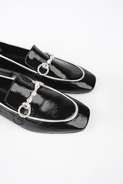 Marjin Kadın Siyah Rugan Loafer Ayakkabı Ateni