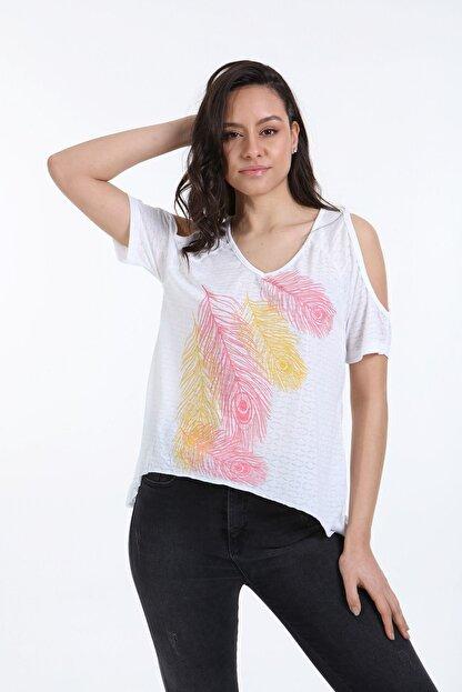 Trender Polo Trender 610 Kadın Devore Omuz Dekolte T-shirt Ekru