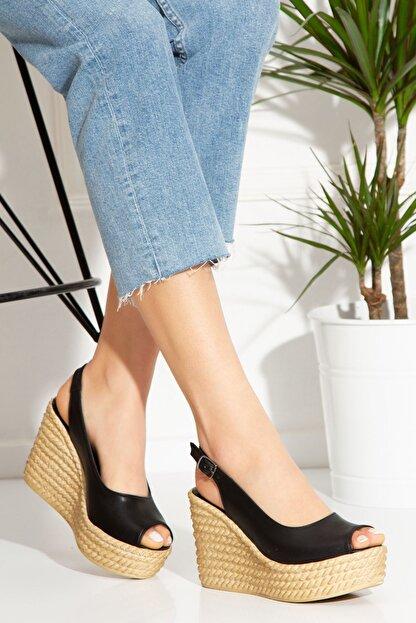 derithy Lewis Dolgu Topuklu Ayakkabı-siyah-lzt0535
