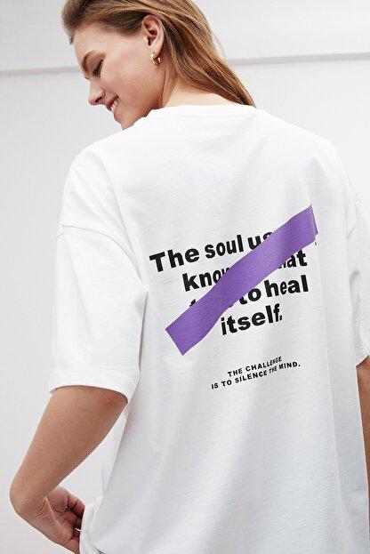 GRIMELANGE SOUL Kadın Beyaz Baskılı Oversize T-shirt