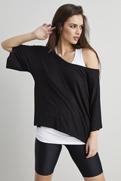 Cool & Sexy Kadın Siyah-Beyaz İkili Salaş T-shirt BK1101