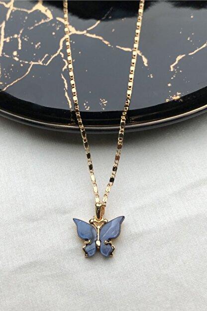 modadern Kadın Gold Lacivert Taşlı Kelebek Kolye