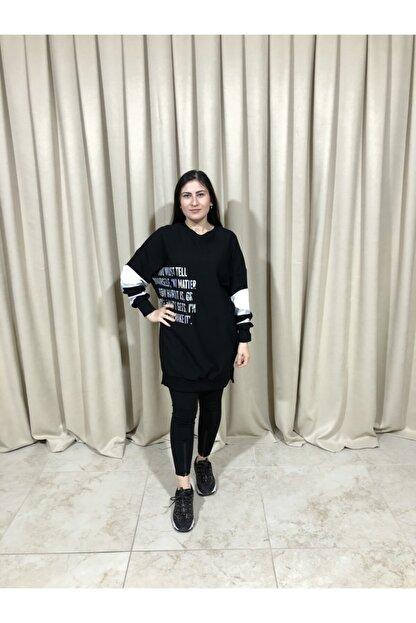 Loreen Kadın Siyah Kol Detaylı Sweatshirt