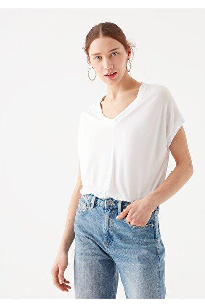 Mavi V Yaka Beyaz Basic Tişört