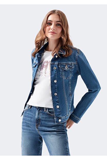 Mavi Kadın Daisy 90 s Zımparalı  Jean Ceket 1113632061