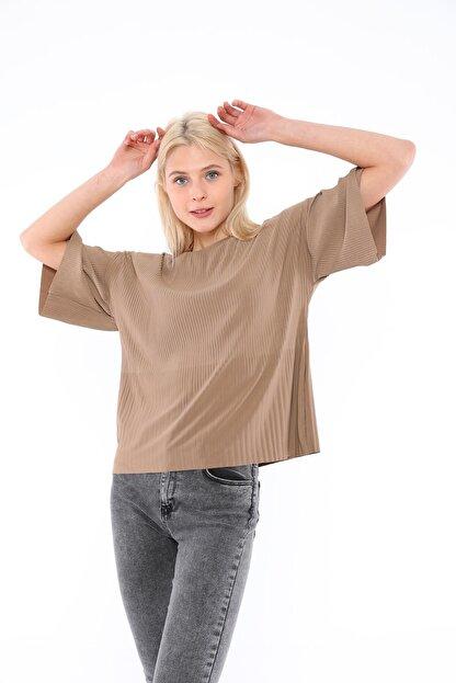 Tiefti Kadın Kahverengi Fitilli Bluz