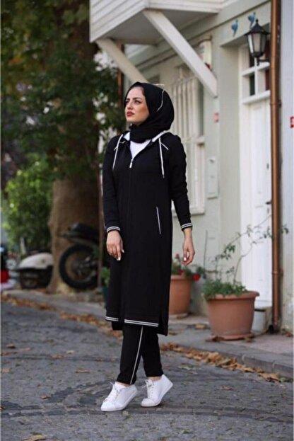 Camelya Fashion Kadın Siyah Eşofman Takımı 2'li