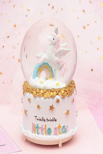HEDİYE FİKRİ Büyük Boy Otomatik Kar Püskürten Işıklı ve Müzikli Unicorn Kar Küresi