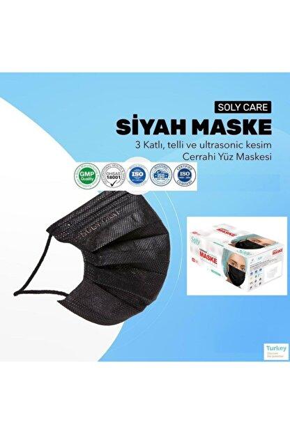 "Soly ""siyah"" Care Cerrahi Maske 50 Adet (50'li 1 Kutu) Üç Katlı Lastikli Burun Telli"