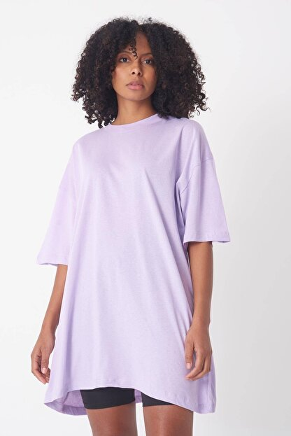 Addax Kadın Lila Oversize T-Shirt P0731 - G6 - K7 Adx-0000020596