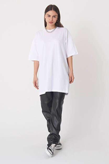 Addax Kadın Beyaz Oversize T-Shirt P0731 - G6 - K7 Adx-0000020596