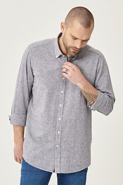 Altınyıldız Classics Erkek Füme Tailored Slim Fit Dar Kesim Düğmeli Yaka Keten Gömlek