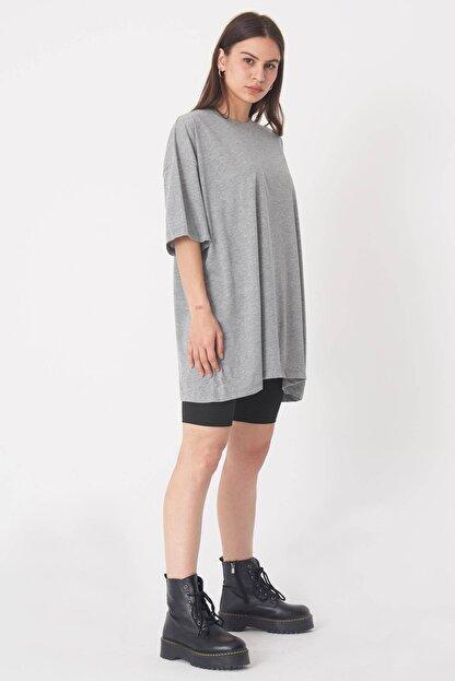 Addax Kadın Gri Melanj Oversize T-Shirt P0731 - G6K7 Adx-0000020596