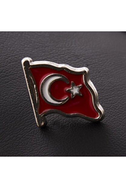 Akın Aksesuar Ay Yıldız Türk Bayrağı Gümüş Renk Yaka Rozet