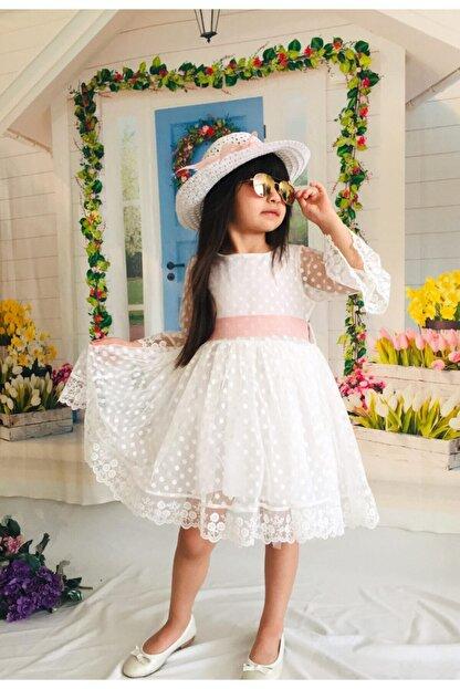 Mixie Kız Çoçuk Beyaz Şapkalı Güpürlü Prenses Model  Elbisesi