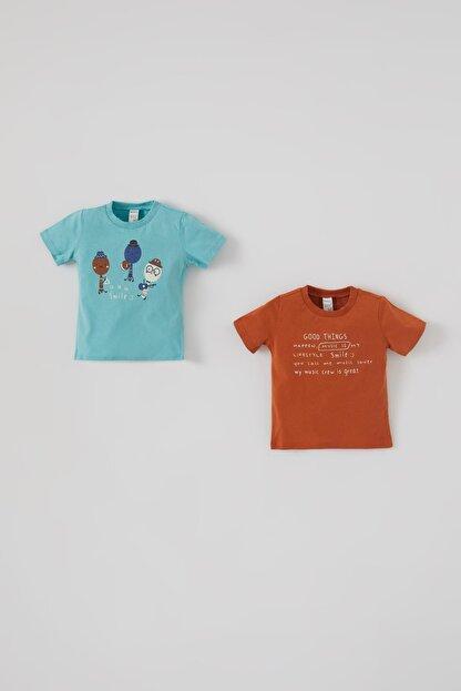 Defacto Erkek Bebek Baskılı 2'li Kısa Kol Pamuklu Tişört