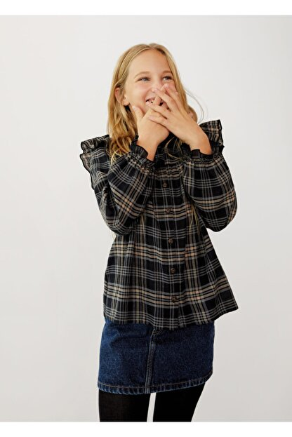 Mango Kız Çocuk Siyah Ekoseli Fırfırlı Gömlek