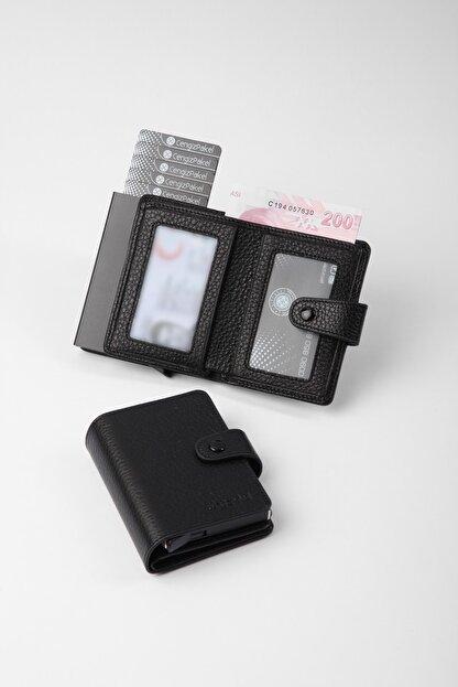 Cengiz Pakel Gerçek Deri Mekanizmalı Siyah Kartlık-cüzdan