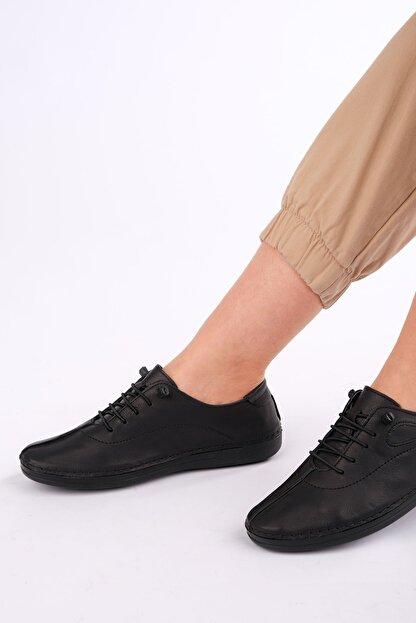 Marjin Kadın Siyah Hakiki Deri Günlük Comfort Ayakkabı Edor