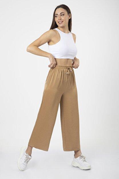 MD trend Kadın Sütlü Kahve Bel Lastikli Bağcıklı Bol Paça Salaş Pantolon