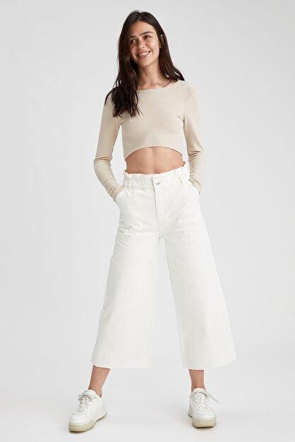Defacto Kadın Beyaz Culotte Jean Pantolon