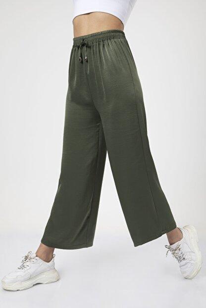 MD trend Kadın Haki Bel Lastikli Bağcıklı Bol Paça Salaş Pantolon