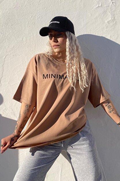 SwistLuxury Kadın Kahverengi Minimalist Baskılı Bisiklet Yaka T shirt