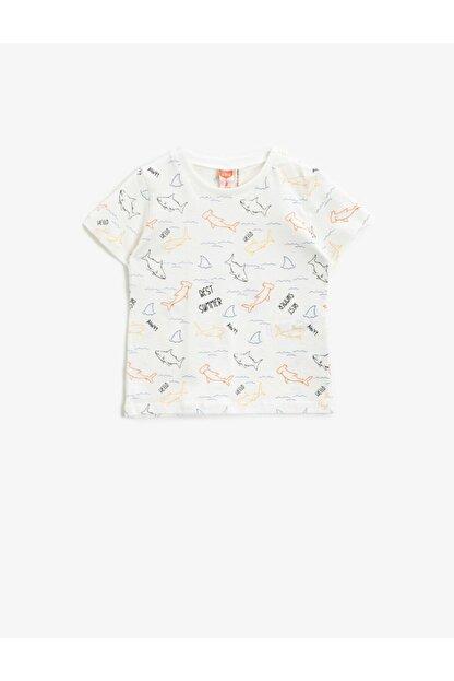 Koton Erkek Bebek Ekru Desenli Kısa Kollu T-Shirt