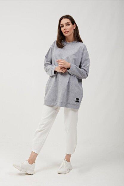 oia Kadın Gri Renk Uzun Basic Sweat Tunik