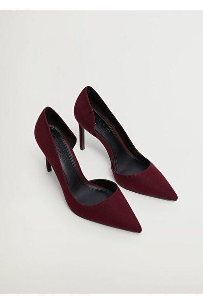 Mango Kadın Bordo Asimetrik Stiletto Ayakkabı
