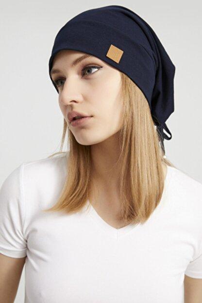 Butikgiz Kadın Lacivert, Ip Detaylı Özel Tasarım 4 Mevsim Şapka Bere Buff -ultra Yumuşak Doğal Penye Kumaş