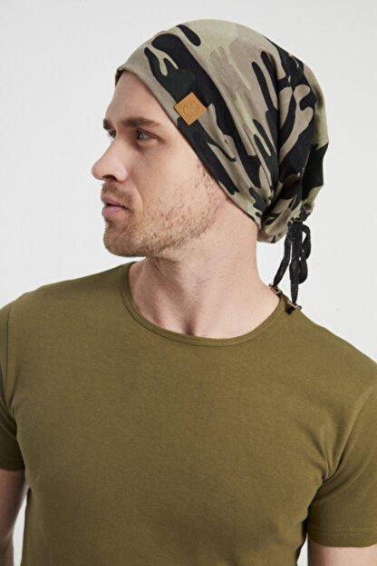 Butikgiz Erkek Haki, Kamuflaj Desenli, Ip Detaylı 4 Mevsim Şapka Bere Buff -ultra Yumuşak Doğal Penye Kumaş