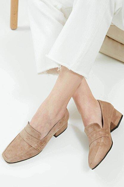 Mio Gusto Camilla Hakiki Süet Vizon Kısa Topuklu Ayakkabı