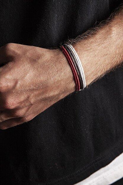 Chill & Feel 3lü Kalın Ayarlanabilir Ip Bileklik - Kırmızı, Gri, Beyaz