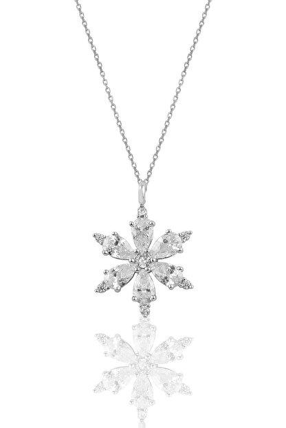 Söğütlü Silver Gümüş Rodyumlu Zirkon Taşlı Kar Tanesi Kolye
