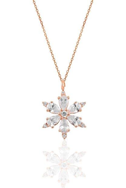 Söğütlü Silver Gümüş Rose Zirkon Taşlı Kar Tanesi Kolye