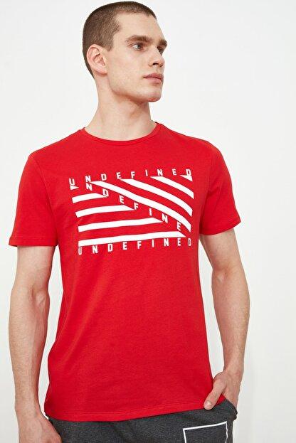 TRENDYOL MAN Kırmızı Erkek Baskılı Slim Fit T-Shirt TMNSS20TS0079