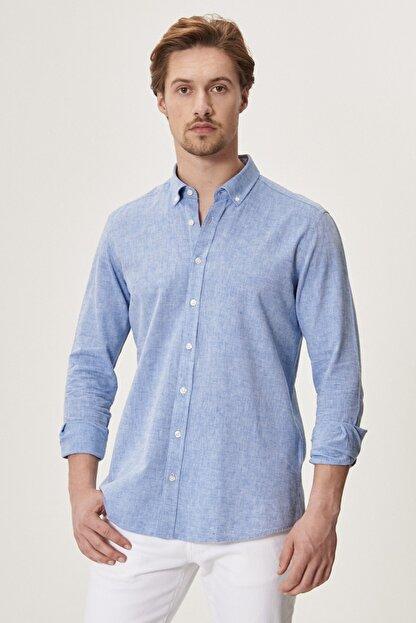 Altınyıldız Classics Erkek K.MAVI Tailored Slim Fit Dar Kesim Düğmeli Yaka Keten Gömlek
