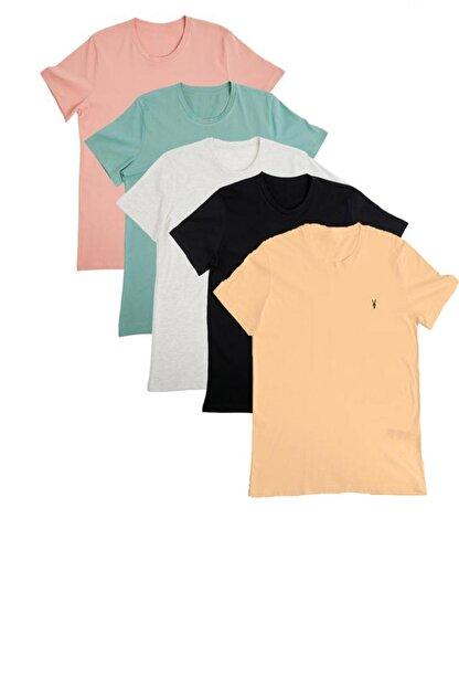 Enuygunenmoda Erkek Slim Fit Basic T-shirt 5'li
