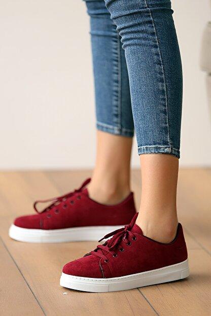 Pembe Potin Kadın Bordosüet Ayakkabı