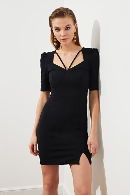 TRENDYOLMİLLA Siyah Kulplu  Elbise TPRSS20EL3190